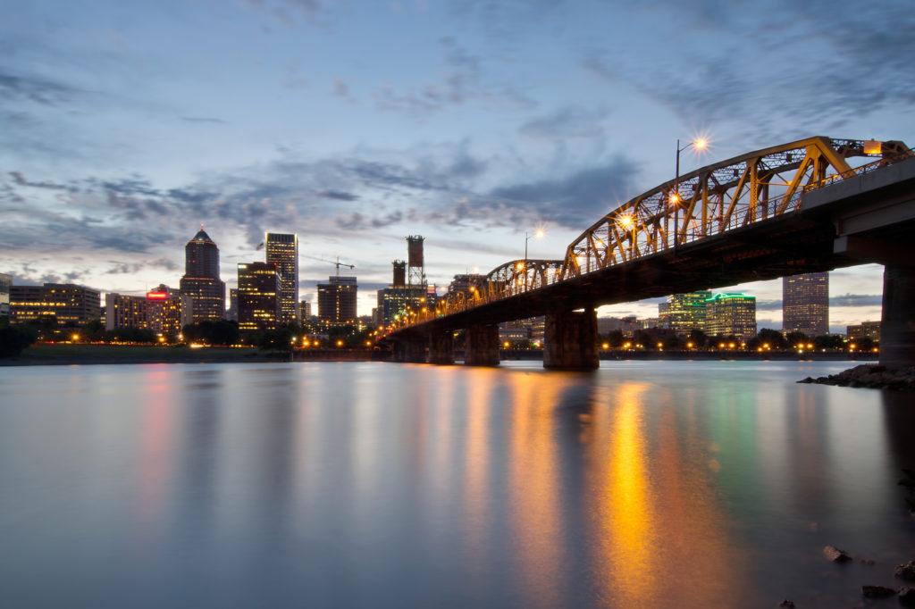 Portland Oregon Skyline and Hawthorne Bridge Over Willamette River at Sunset